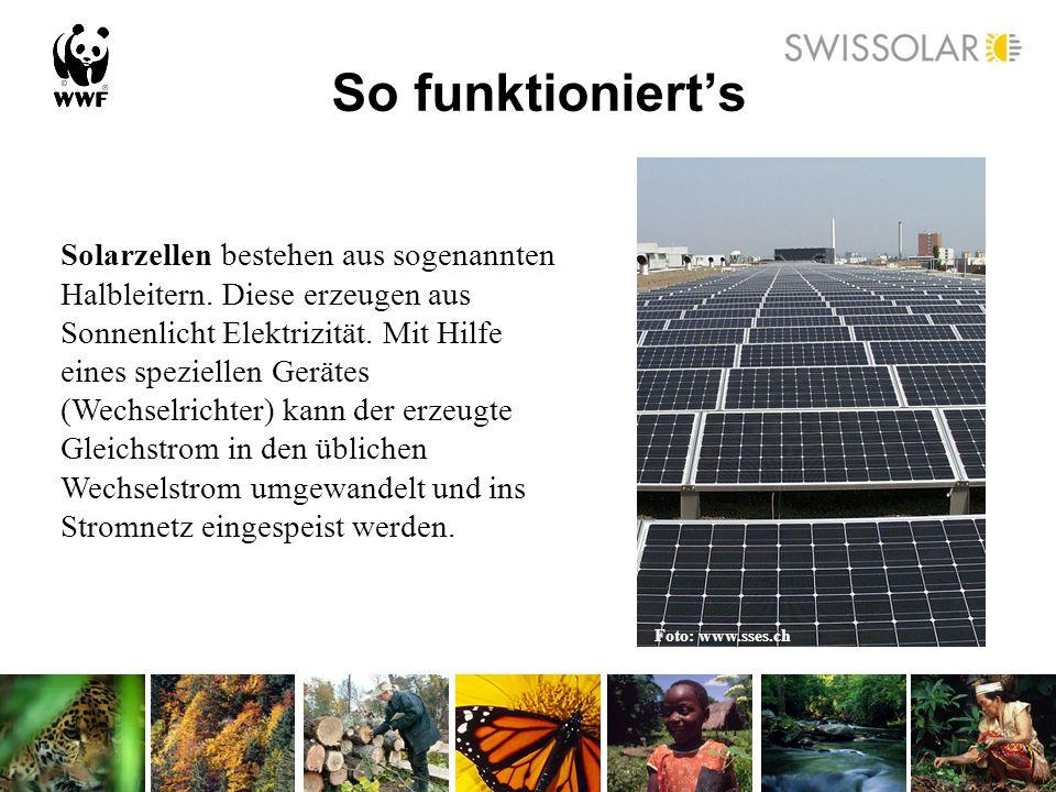 So funktionierts Solarzellen bestehen aus sogenannten Halbleitern. Diese erzeugen aus Sonnenlicht Elektrizität. Mit Hilfe eines speziellen Gerätes (We