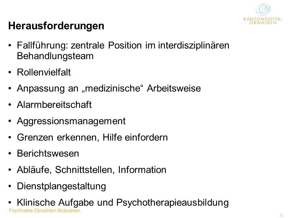 Psychiatrie Obwalden/Nidwalden 12 Herausforderungen Fallführung: zentrale Position im interdisziplinären Behandlungsteam Rollenvielfalt Anpassung an m