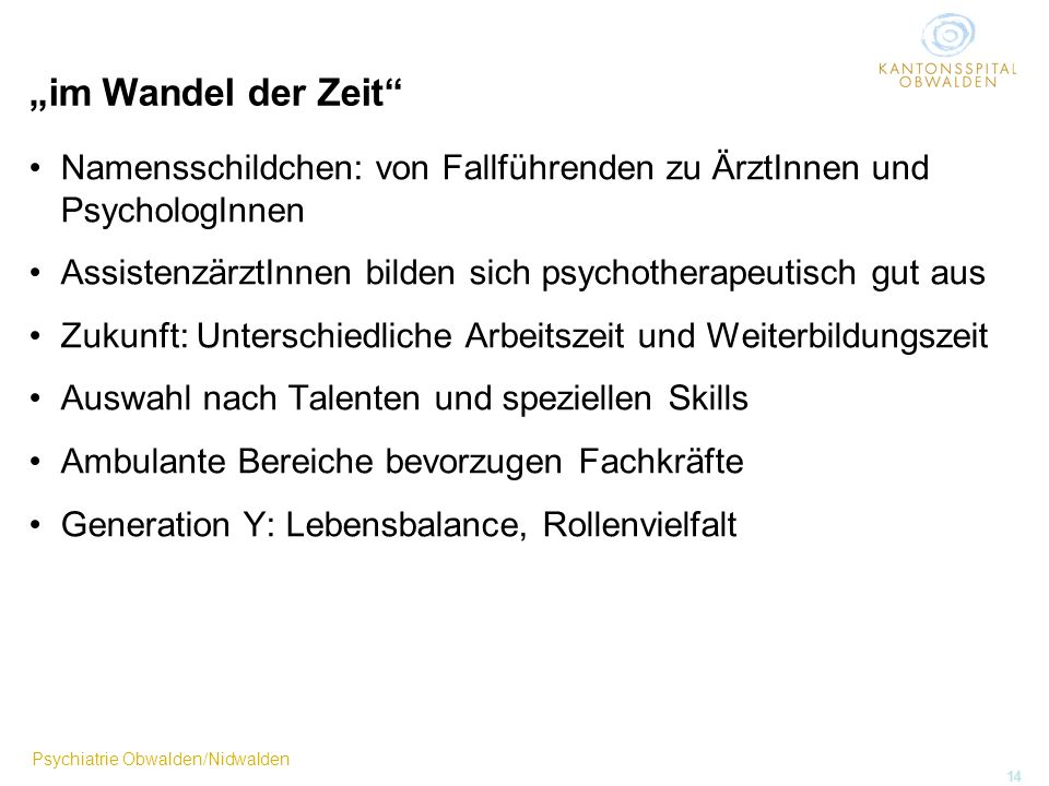 Psychiatrie Obwalden/Nidwalden 14 im Wandel der Zeit Namensschildchen: von Fallführenden zu ÄrztInnen und PsychologInnen AssistenzärztInnen bilden sic