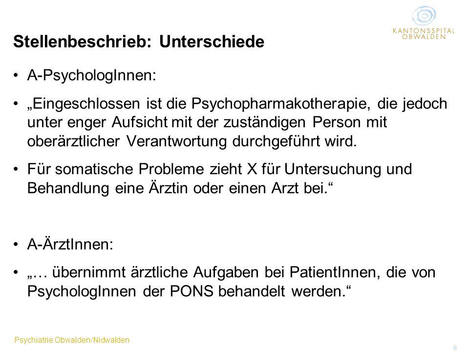 Psychiatrie Obwalden/Nidwalden 6 Stellenbeschrieb: Unterschiede A-PsychologInnen: Eingeschlossen ist die Psychopharmakotherapie, die jedoch unter enge