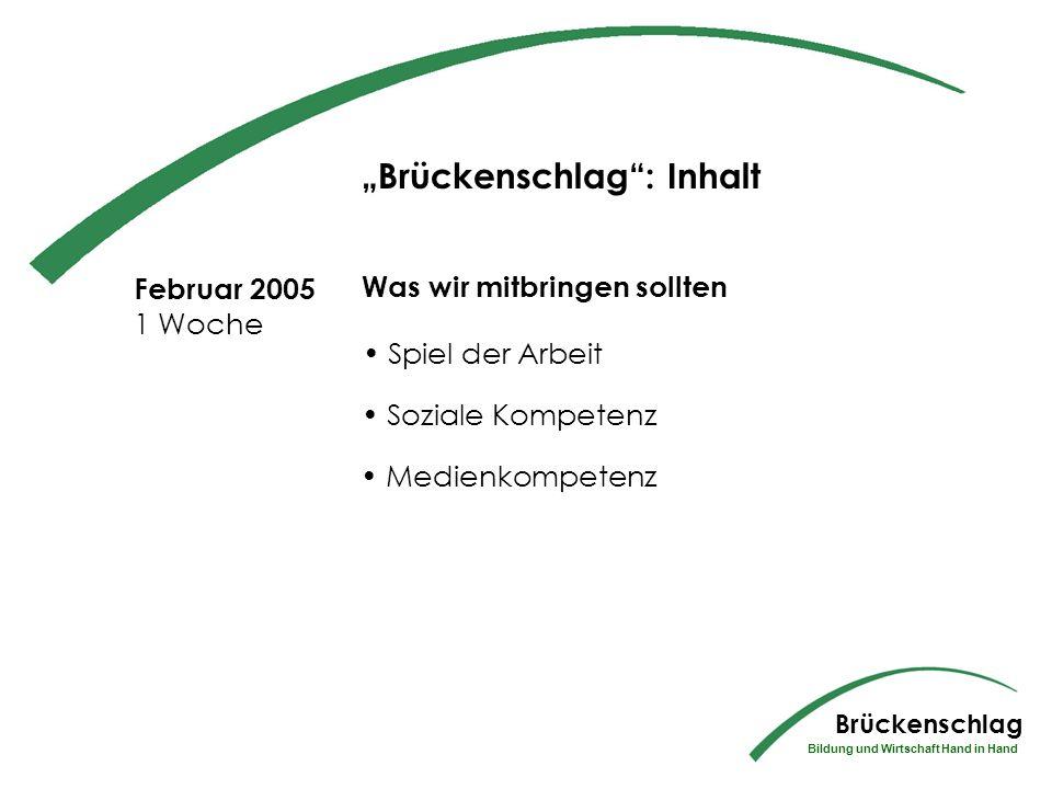 Okt 2004- Jan 2005 Berufspraktikum Die Schüler machen in diesem Zeitraum den ersten Teil ihres insgesamt dreiwöchigen Berufspraktikums Brückenschlag Bildung und Wirtschaft Hand in Hand Brückenschlag: Inhalt