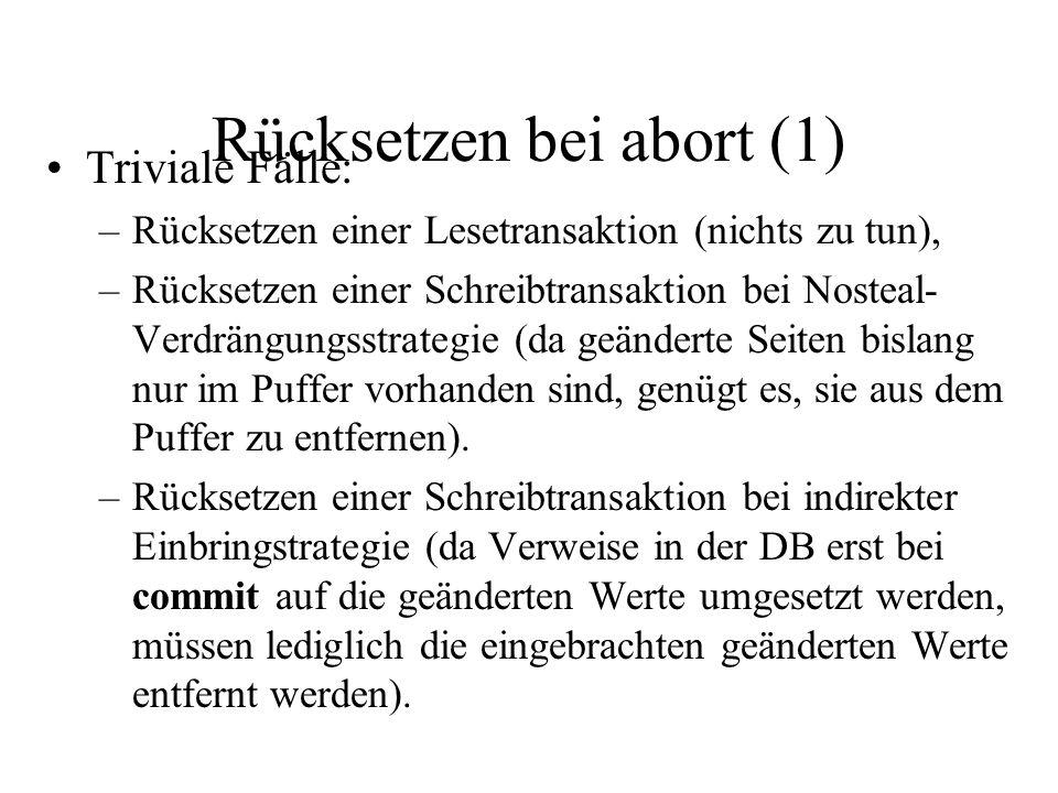 Rücksetzen bei abort (2) Rücksetzen einer Schreibtransaktion T i bei Steal+Direkt-Strategie: –Für jeden Eintrag undo(T i,x,v) im Protokoll: Lese x via fetch(x) in Puffer ein.