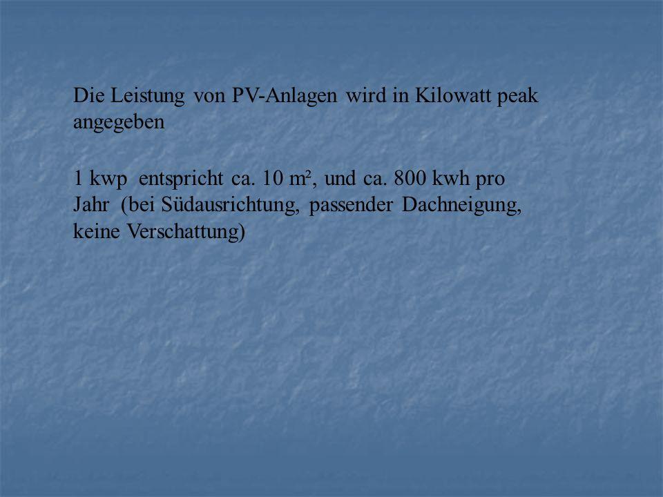 Die Leistung von PV-Anlagen wird in Kilowatt peak angegeben 1 kwp entspricht ca. 10 m², und ca. 800 kwh pro Jahr (bei Südausrichtung, passender Dachne