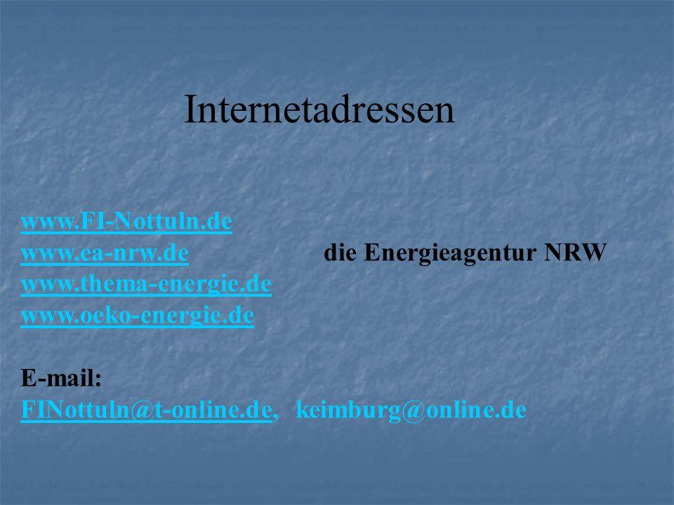 Internetadressen www.FI-Nottuln.de www.ea-nrw.dewww.ea-nrw.de die Energieagentur NRW www.thema-energie.de www.oeko-energie.de E-mail: FINottuln@t-onli