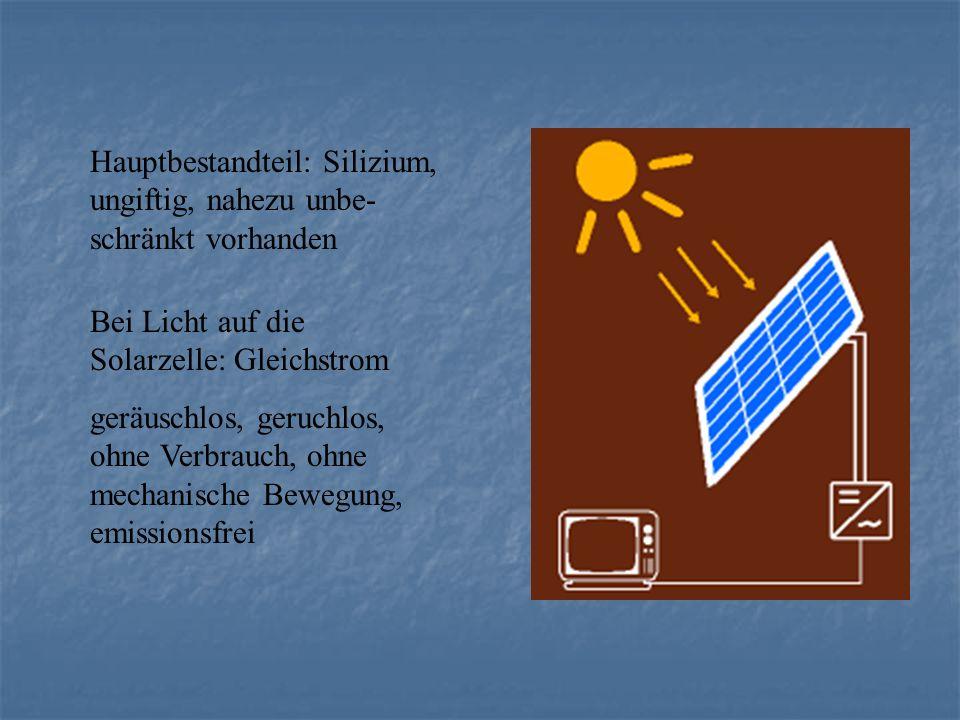 Hauptbestandteil: Silizium, ungiftig, nahezu unbe- schränkt vorhanden Bei Licht auf die Solarzelle: Gleichstrom geräuschlos, geruchlos, ohne Verbrauch