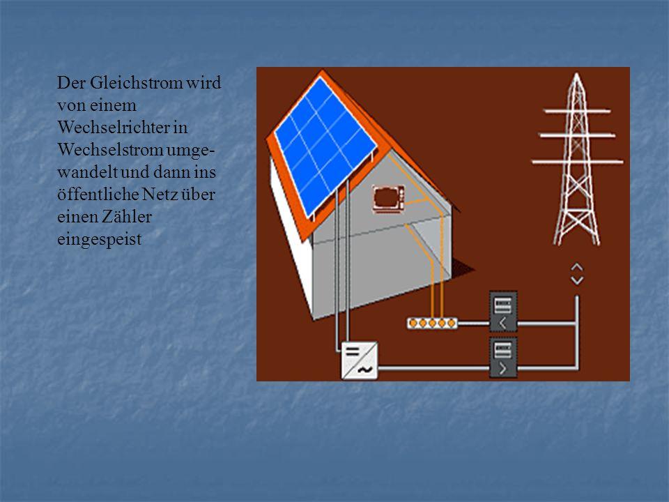 Der Gleichstrom wird von einem Wechselrichter in Wechselstrom umge- wandelt und dann ins öffentliche Netz über einen Zähler eingespeist