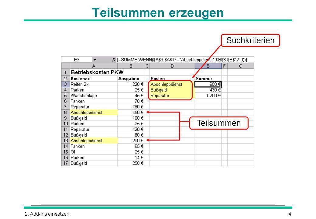 2. Add-Ins einsetzen4 Teilsummen erzeugen Suchkriterien Teilsummen