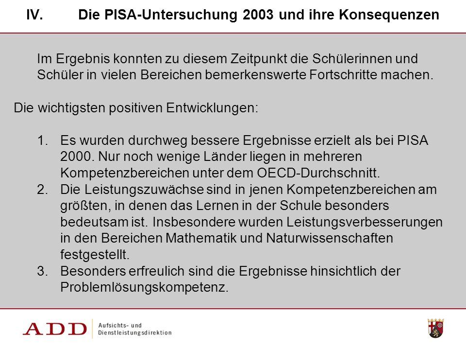 IV.Die PISA-Untersuchung 2003 und ihre Konsequenzen Im Ergebnis konnten zu diesem Zeitpunkt die Schülerinnen und Schüler in vielen Bereichen bemerkenswerte Fortschritte machen.