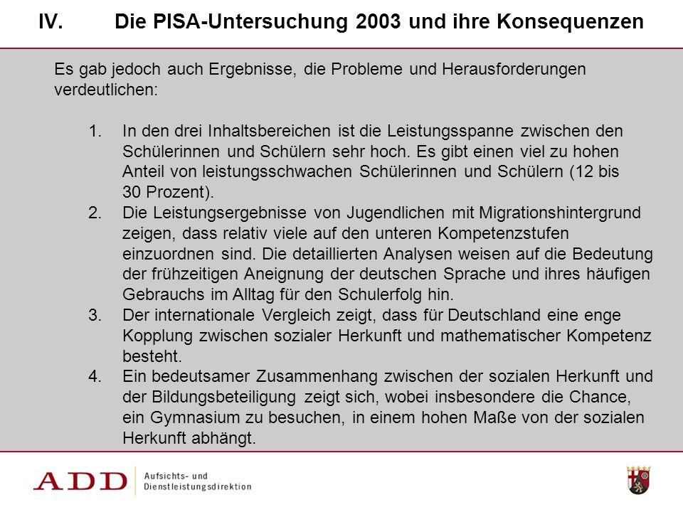 IV.Die PISA-Untersuchung 2003 und ihre Konsequenzen Es gab jedoch auch Ergebnisse, die Probleme und Herausforderungen verdeutlichen: 1.In den drei Inhaltsbereichen ist die Leistungsspanne zwischen den Schülerinnen und Schülern sehr hoch.