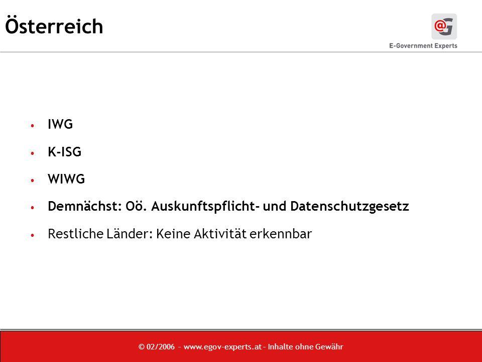 © 02/2006 – www.egov-experts.at – Inhalte ohne Gewähr Österreich IWG K-ISG WIWG Demnächst: Oö.