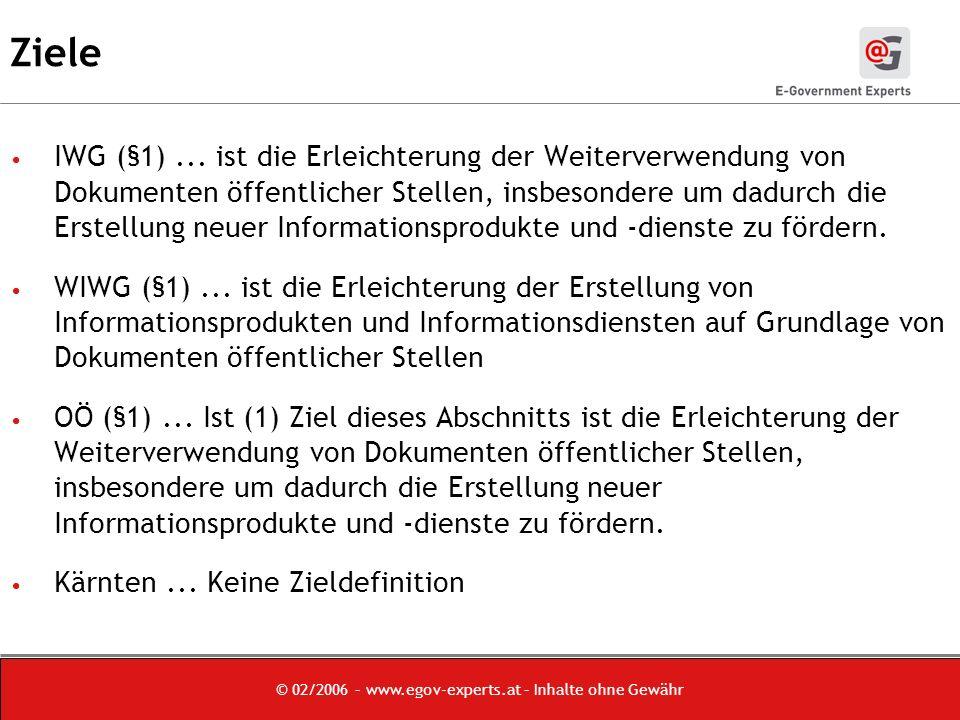 © 02/2006 – www.egov-experts.at – Inhalte ohne Gewähr Ziele IWG (§1)...