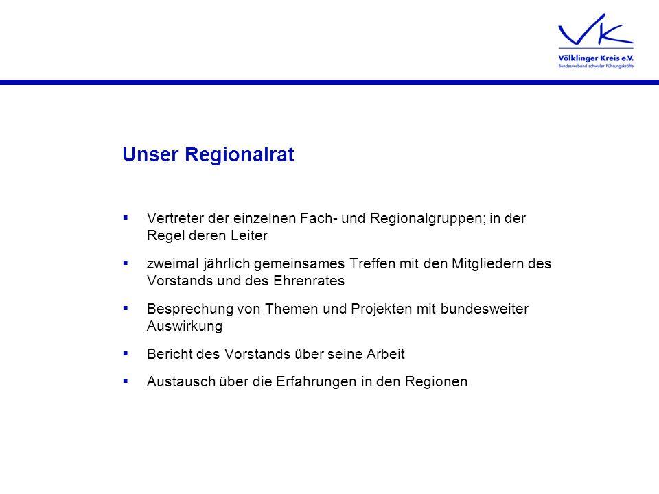 Unser Regionalrat Vertreter der einzelnen Fach- und Regionalgruppen; in der Regel deren Leiter zweimal jährlich gemeinsames Treffen mit den Mitglieder