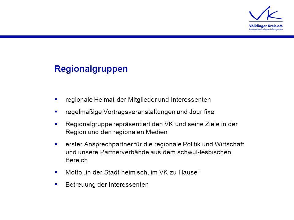 Regionalgruppen regionale Heimat der Mitglieder und Interessenten regelmäßige Vortragsveranstaltungen und Jour fixe Regionalgruppe repräsentiert den V