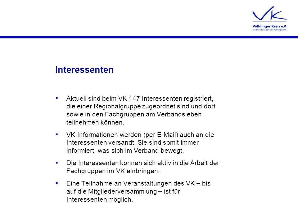 Interessenten Aktuell sind beim VK 147 Interessenten registriert, die einer Regionalgruppe zugeordnet sind und dort sowie in den Fachgruppen am Verban