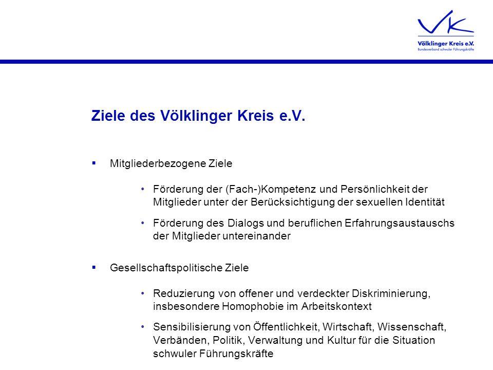 Ziele des Völklinger Kreis e.V. Mitgliederbezogene Ziele Förderung der (Fach-)Kompetenz und Persönlichkeit der Mitglieder unter der Berücksichtigung d