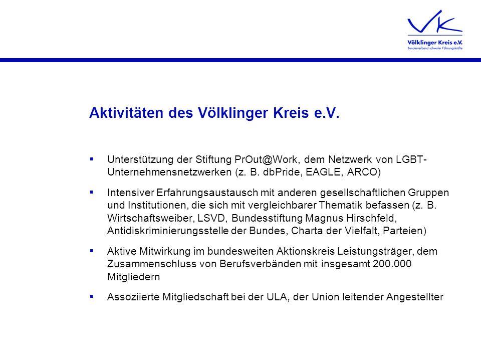 Aktivitäten des Völklinger Kreis e.V. Unterstützung der Stiftung PrOut@Work, dem Netzwerk von LGBT- Unternehmensnetzwerken (z. B. dbPride, EAGLE, ARCO