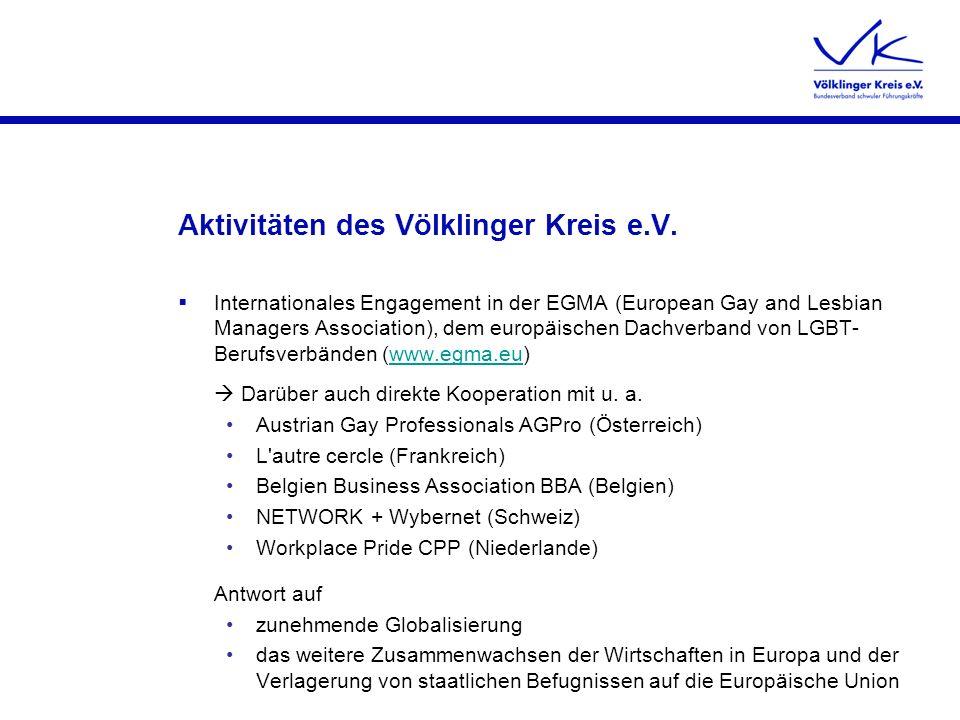 Aktivitäten des Völklinger Kreis e.V. Internationales Engagement in der EGMA (European Gay and Lesbian Managers Association), dem europäischen Dachver
