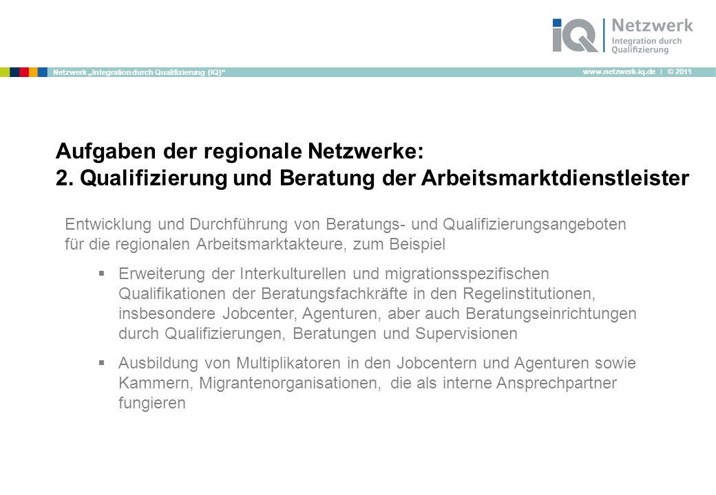 www.netzwerk-iq.de I © 2011 Netzwerk Integration durch Qualifizierung (IQ) Aufgaben der regionale Netzwerke: 2.