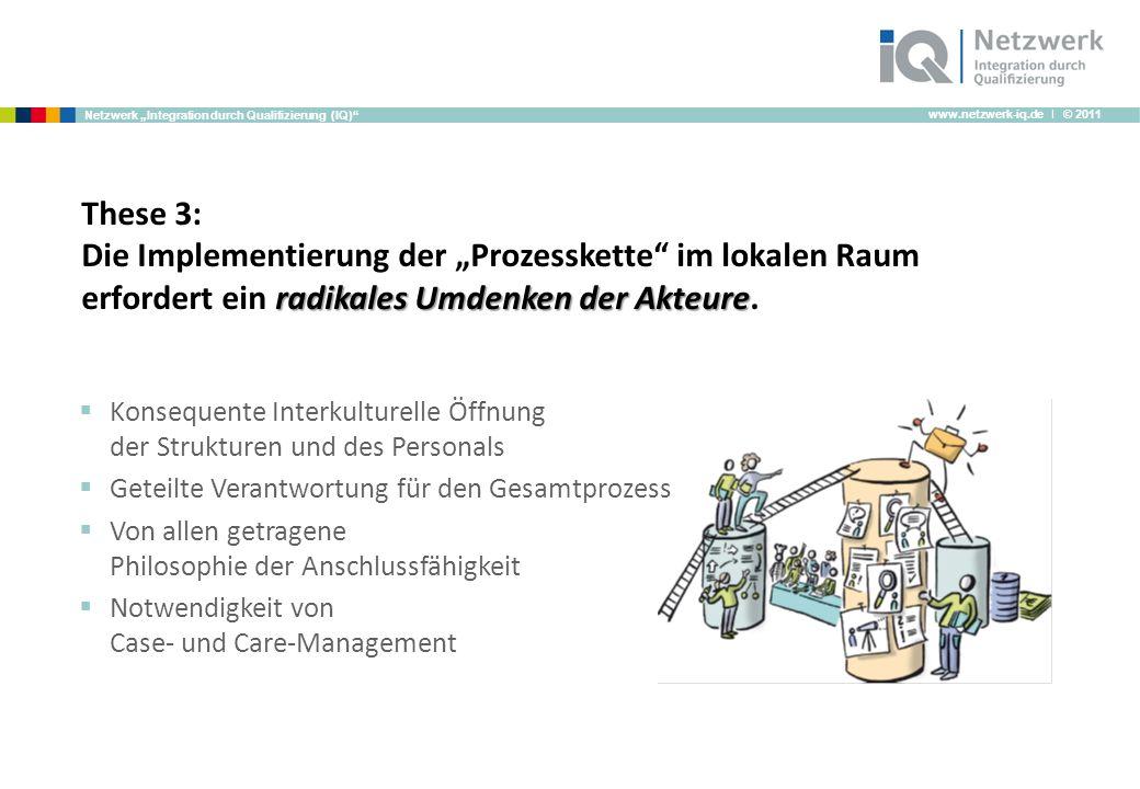 www.netzwerk-iq.de I © 2011 Netzwerk Integration durch Qualifizierung (IQ) radikales Umdenken der Akteure These 3: Die Implementierung der Prozesskette im lokalen Raum erfordert ein radikales Umdenken der Akteure.