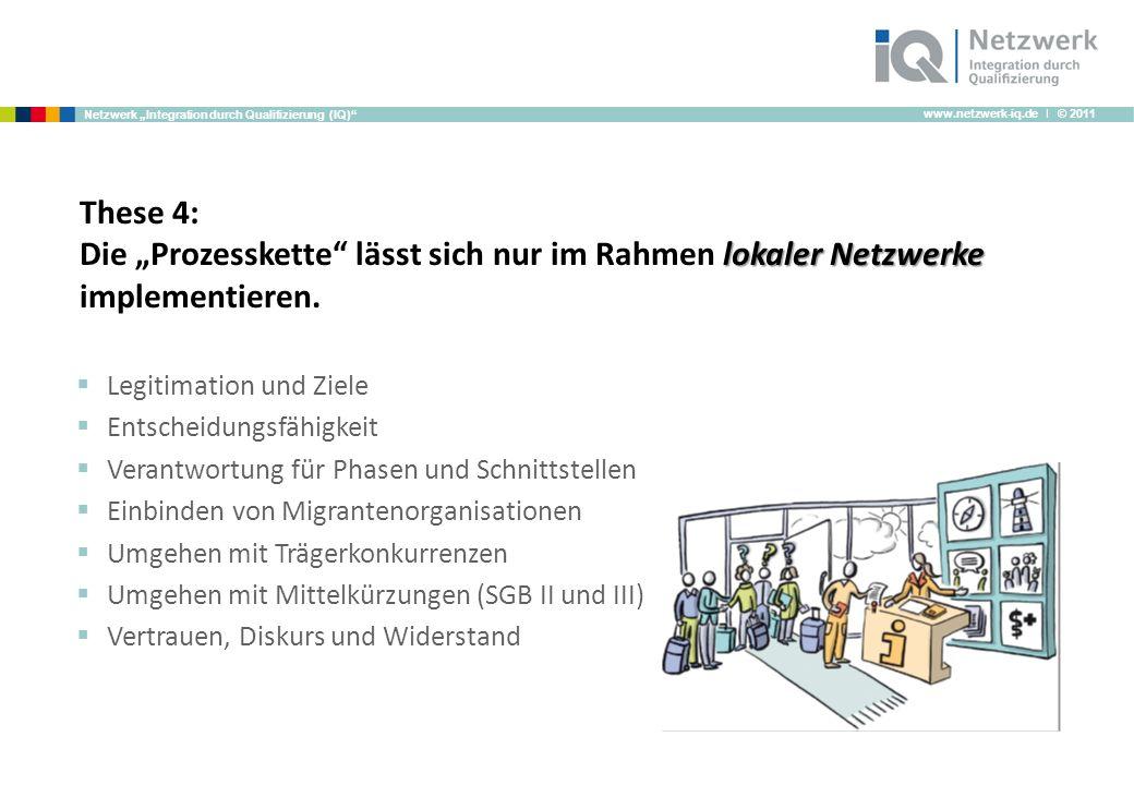 www.netzwerk-iq.de I © 2011 Netzwerk Integration durch Qualifizierung (IQ) lokaler Netzwerke These 4: Die Prozesskette lässt sich nur im Rahmen lokaler Netzwerke implementieren.