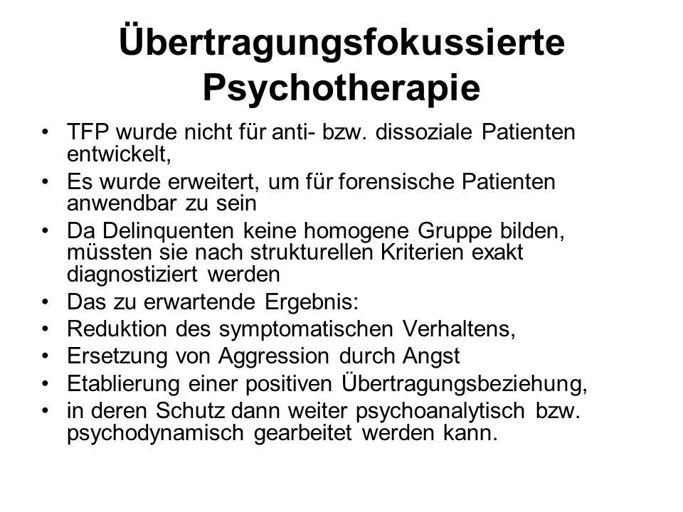 Übertragungsfokussierte Psychotherapie TFP wurde nicht für anti- bzw.