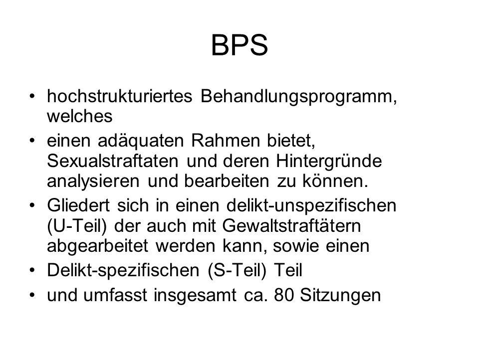BPS hochstrukturiertes Behandlungsprogramm, welches einen adäquaten Rahmen bietet, Sexualstraftaten und deren Hintergründe analysieren und bearbeiten zu können.