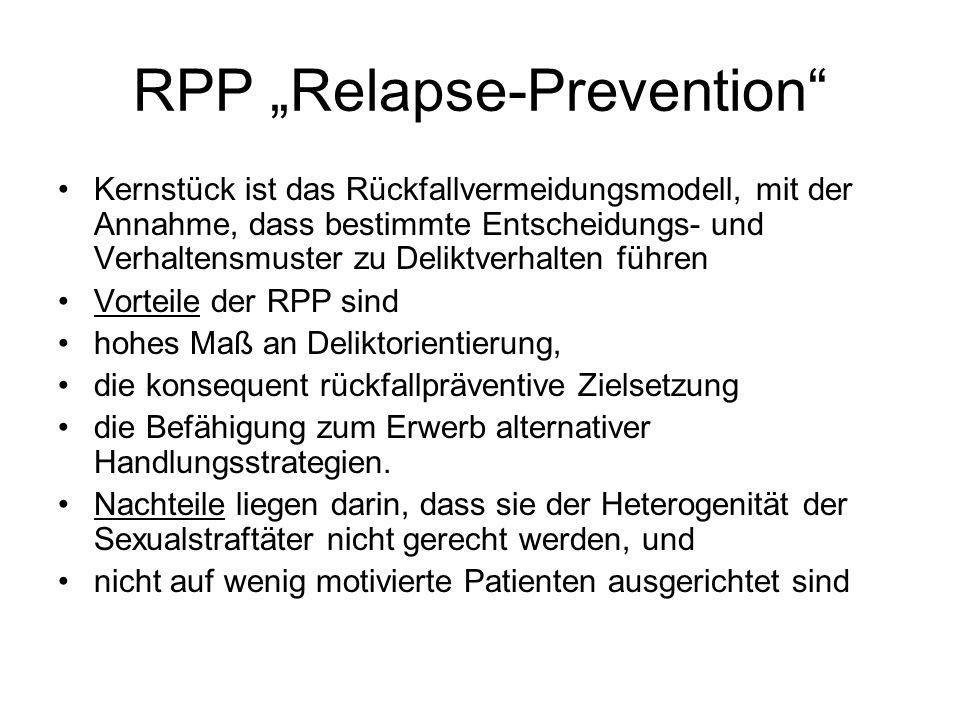 RPP Relapse-Prevention Kernstück ist das Rückfallvermeidungsmodell, mit der Annahme, dass bestimmte Entscheidungs- und Verhaltensmuster zu Deliktverhalten führen Vorteile der RPP sind hohes Maß an Deliktorientierung, die konsequent rückfallpräventive Zielsetzung die Befähigung zum Erwerb alternativer Handlungsstrategien.