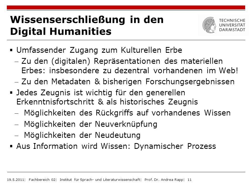 Wissenserschließung in den Digital Humanities Umfassender Zugang zum Kulturellen Erbe Zu den (digitalen) Repräsentationen des materiellen Erbes: insbe