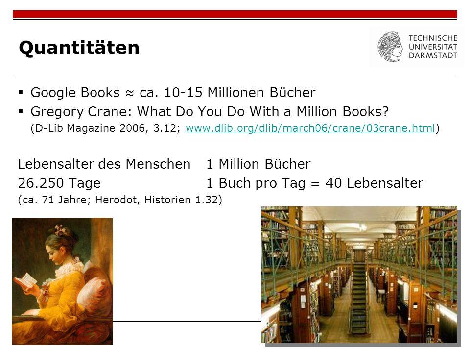 Quantitäten Google Books ca. 10-15 Millionen Bücher Gregory Crane: What Do You Do With a Million Books? (D-Lib Magazine 2006, 3.12; www.dlib.org/dlib/