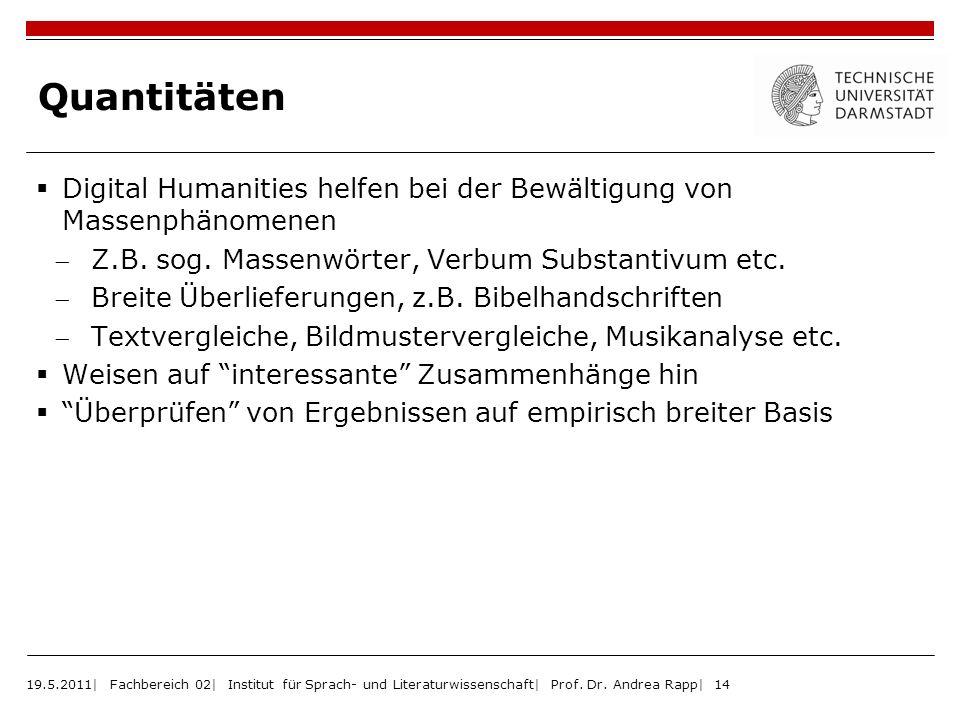 Quantitäten Digital Humanities helfen bei der Bewältigung von Massenphänomenen Z.B. sog. Massenwörter, Verbum Substantivum etc. Breite Überlieferungen