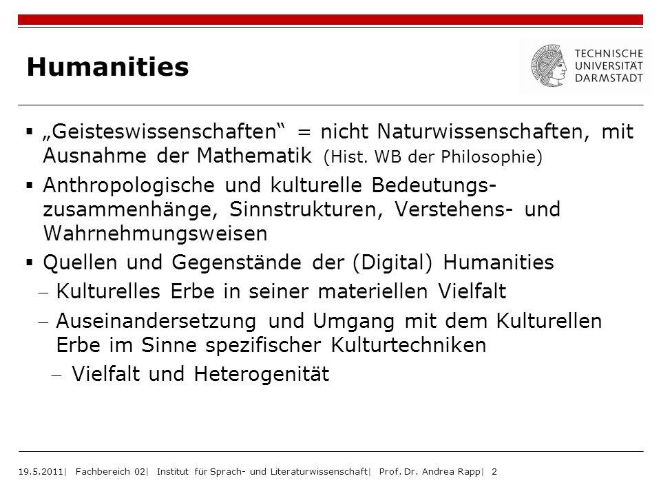 Humanities 19.5.2011| Fachbereich 02| Institut für Sprach- und Literaturwissenschaft| Prof. Dr. Andrea Rapp| 2 Geisteswissenschaften = nicht Naturwiss