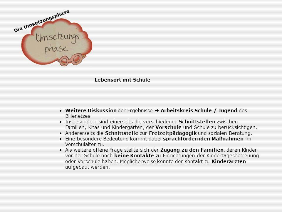 Die Umsetzungsphase Schule und Berufswelt Das Thema Schule / Berufswelt wird in die entsprechenden Arbeitskreise (Schule / Jugendhilfe und Schule / Wi