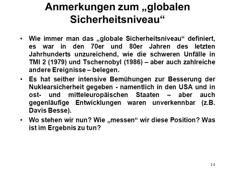 14 Anmerkungen zum globalen Sicherheitsniveau Wie immer man das globale Sicherheitsniveau definiert, es war in den 70er und 80er Jahren des letzten Jahrhunderts unzureichend, wie die schweren Unfälle in TMI 2 (1979) und Tschernobyl (1986) – aber auch zahlreiche andere Ereignisse – belegen.
