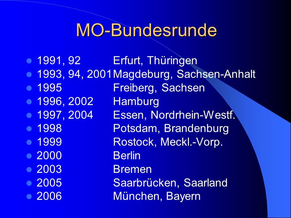 MO-Bundesrunde 1991, 92Erfurt, Thüringen 1993, 94, 2001Magdeburg, Sachsen-Anhalt 1995Freiberg, Sachsen 1996, 2002Hamburg 1997, 2004Essen, Nordrhein-Westf.