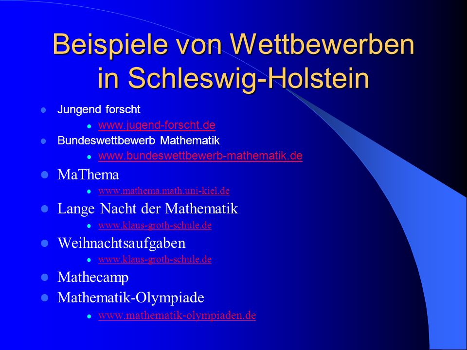 künftige MO – Bundesrunden 2007Karlsruhe, Baden-Württemberg 2008 Dresden, Sachsen 2009 Lübeck, Schleswig-Holstein – offen: Niedersachsen Rheinland-Pfalz Hessen
