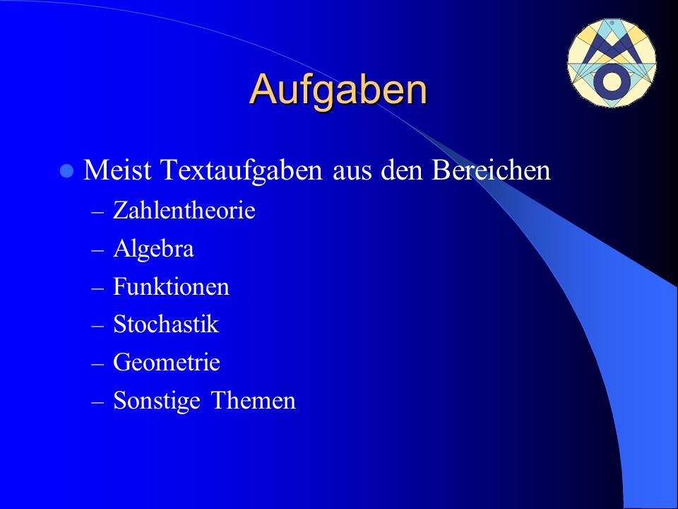 Aufgaben Meist Textaufgaben aus den Bereichen – Zahlentheorie – Algebra – Funktionen – Stochastik – Geometrie – Sonstige Themen