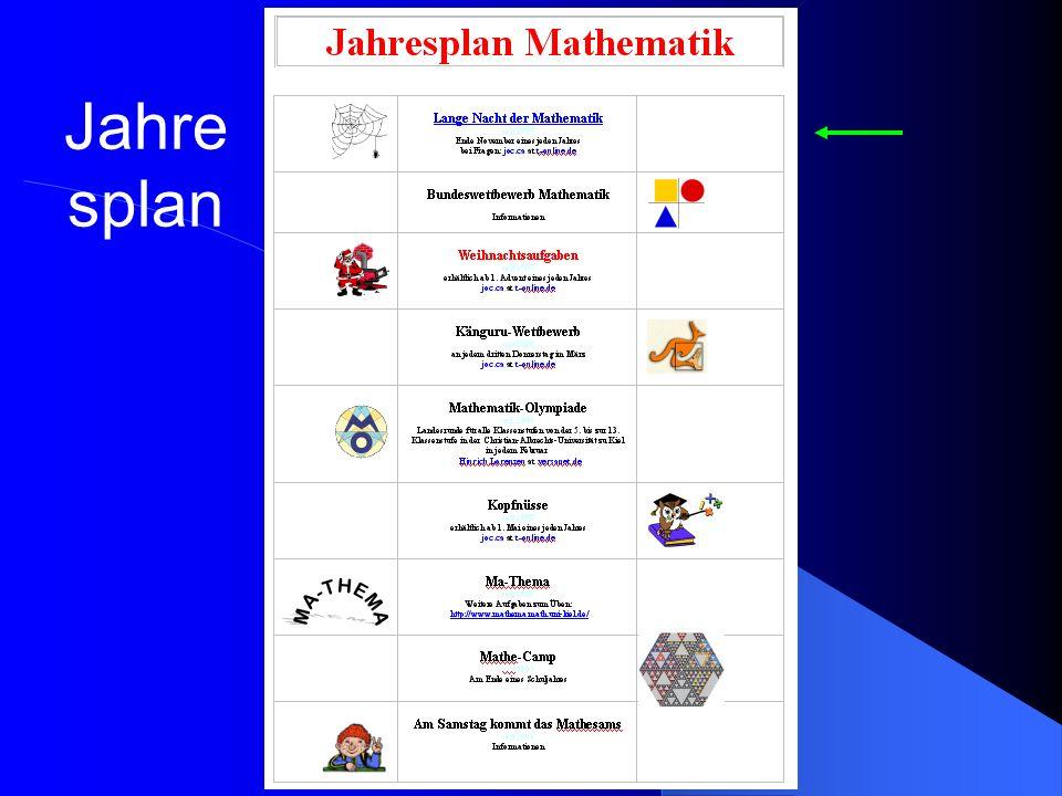 je drei bis vier Korrespon- denzaufgaben aus früheren Mathematik-Olympiaden zu vier thematischen Schwer- punkten Auswertung und Diskus- sion jeweils bei vier Treffen pro Alterstufe unter der Leitung von Mitarbeitern und Studierenden des Insti- tuts für Mathematik sowie einem Mathematiklehrer