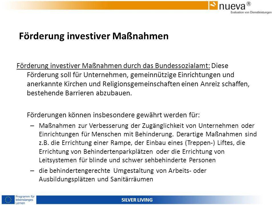 Förderung investiver Maßnahmen Förderung investiver Maßnahmen durch das Bundessozialamt: Diese Förderung soll für Unternehmen, gemeinnützige Einrichtu