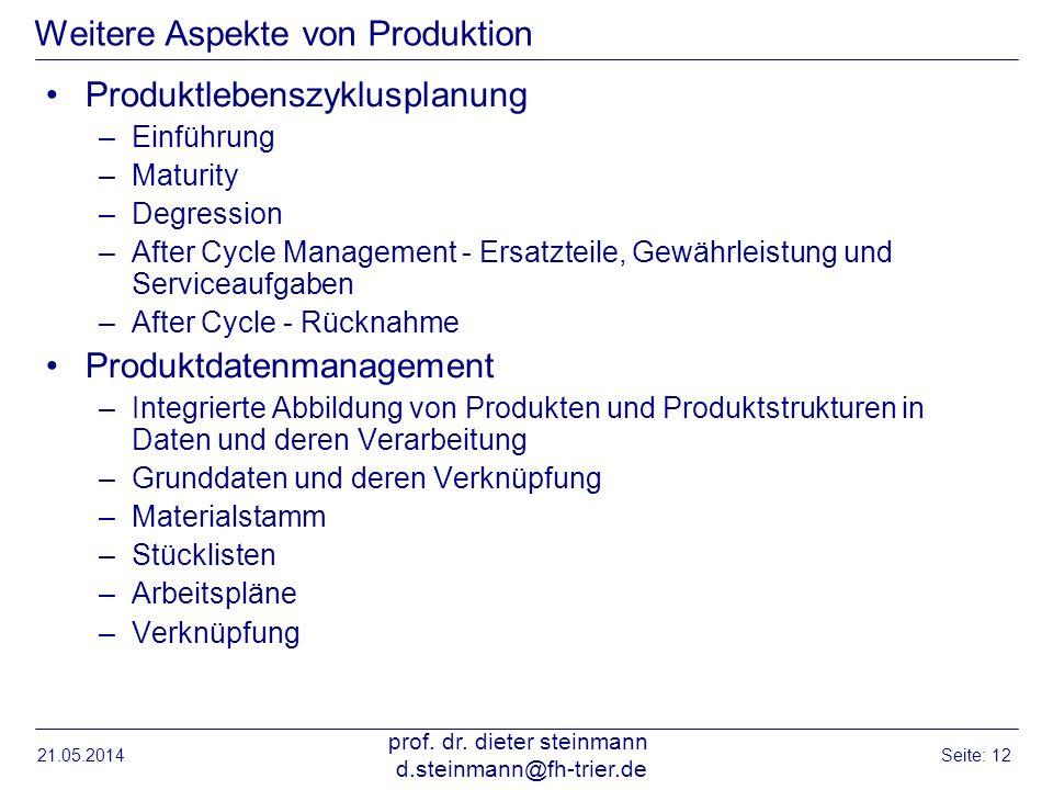 21.05.2014 prof. dr. dieter steinmann d.steinmann@fh-trier.de Seite: 12 Weitere Aspekte von Produktion Produktlebenszyklusplanung –Einführung –Maturit