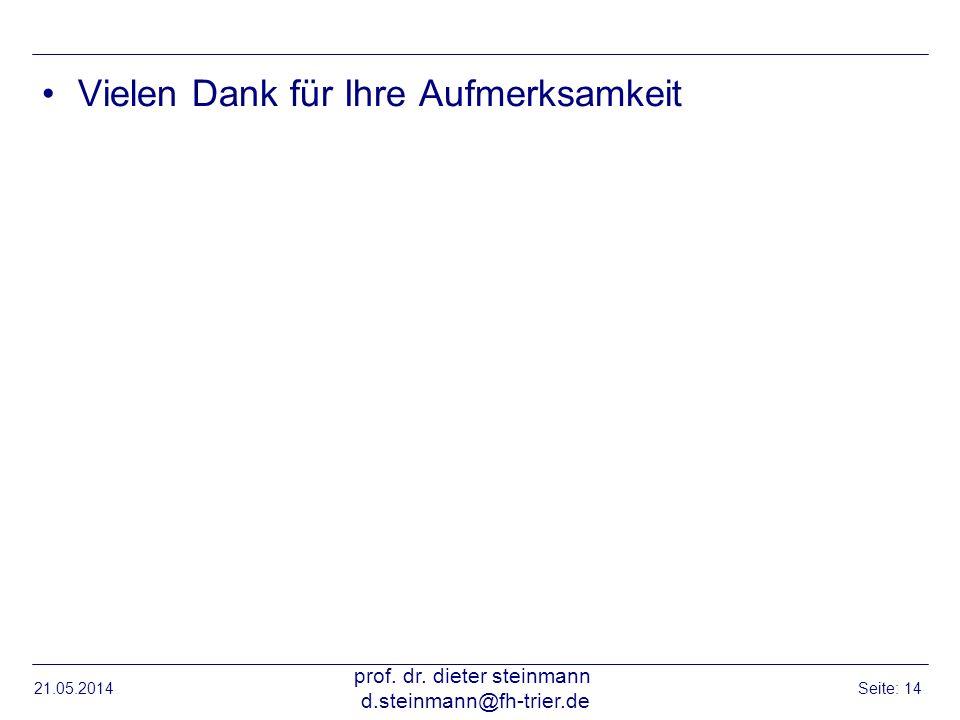 21.05.2014 prof. dr. dieter steinmann d.steinmann@fh-trier.de Seite: 14 Vielen Dank für Ihre Aufmerksamkeit