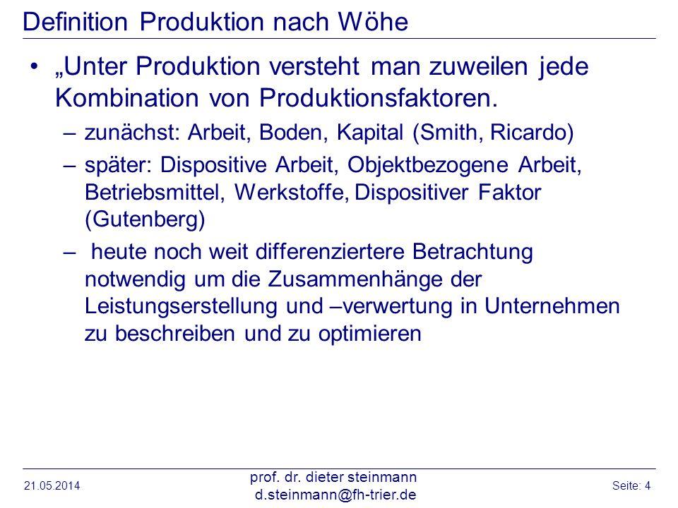 21.05.2014 prof. dr. dieter steinmann d.steinmann@fh-trier.de Seite: 4 Definition Produktion nach Wöhe Unter Produktion versteht man zuweilen jede Kom