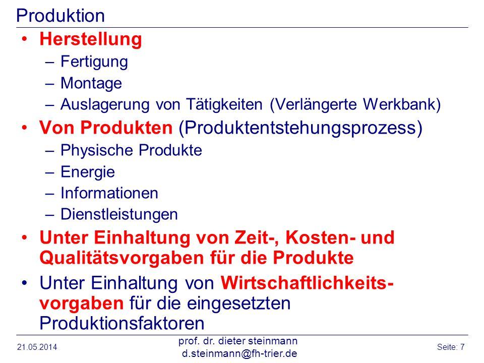21.05.2014 prof. dr. dieter steinmann d.steinmann@fh-trier.de Seite: 7 Produktion Herstellung –Fertigung –Montage –Auslagerung von Tätigkeiten (Verlän