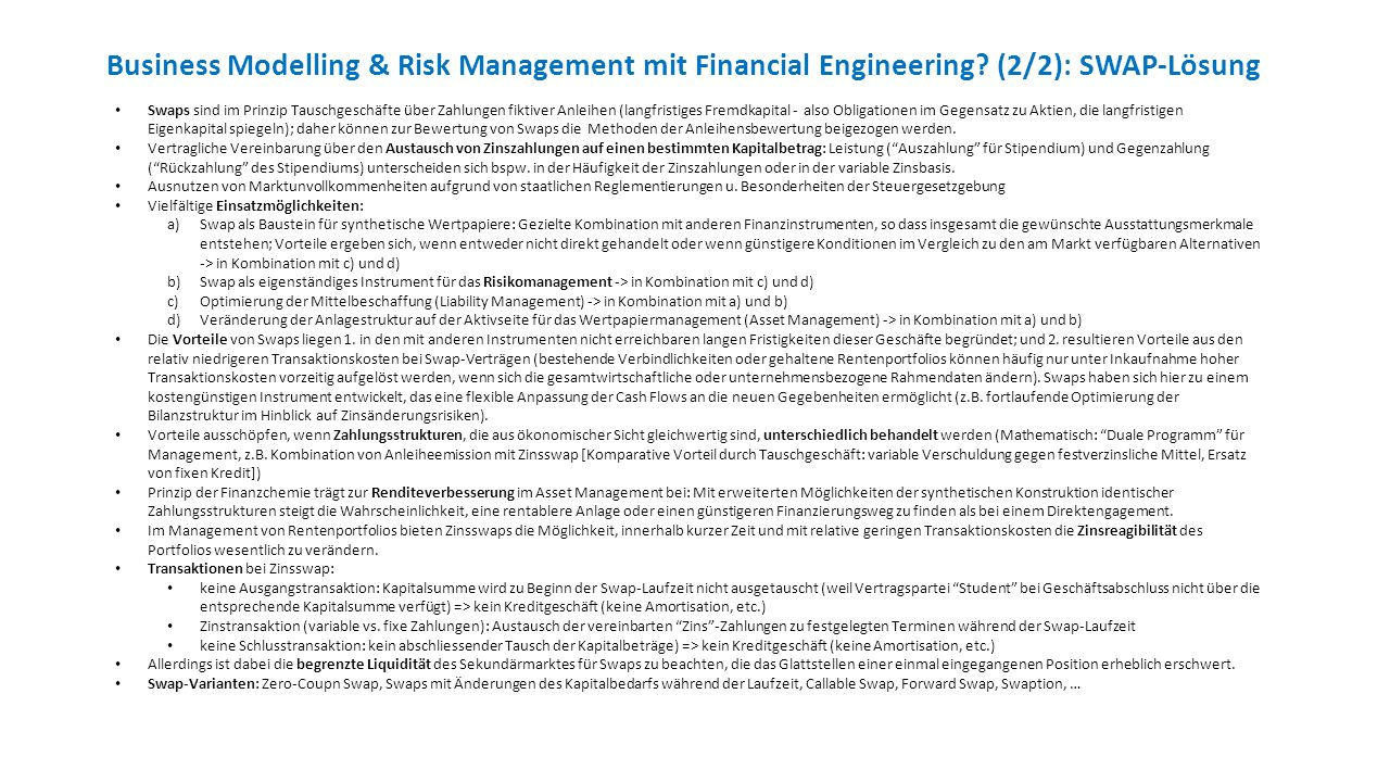 Business Modelling & Risk Management mit Financial Engineering.