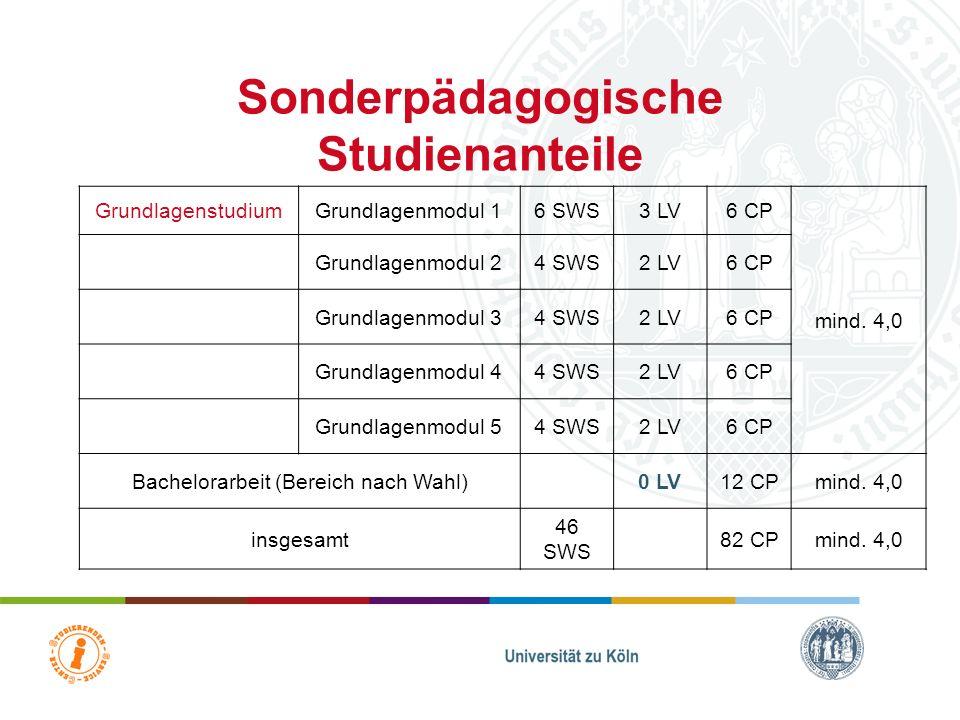 Sonderpädagogische Fachrichtung II Humanwissenschaftliche Fakultät Department Heilpädagogik Studierenden-Service-Center BM 1 BM 2BM 3 22 CP