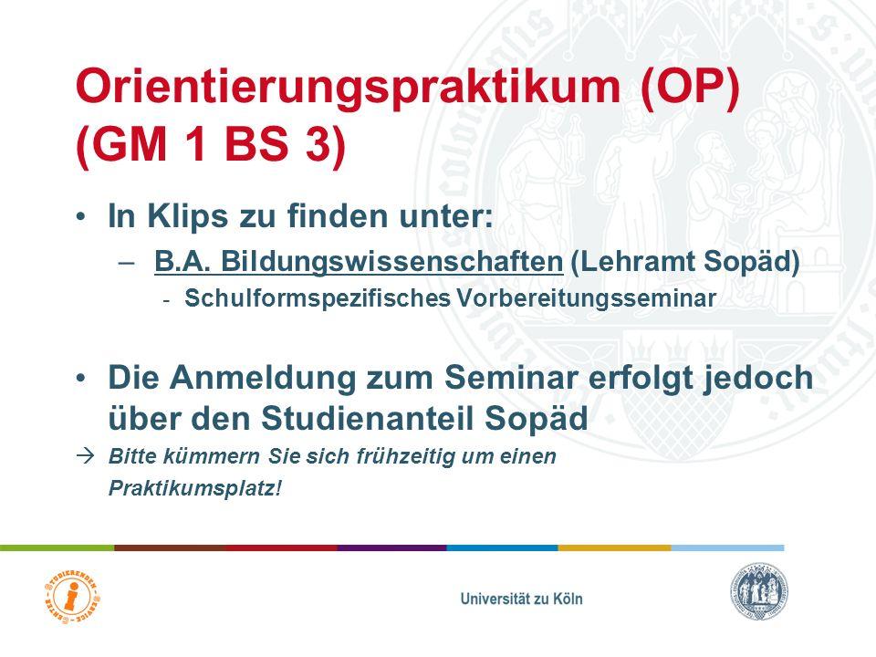Orientierungspraktikum-Ablauf Vorbereitende Übung (Anmeldung über KLIPS) Durchführung (20 Arbeitstage): - freie Ortswahl: in allen Bundesländern und i