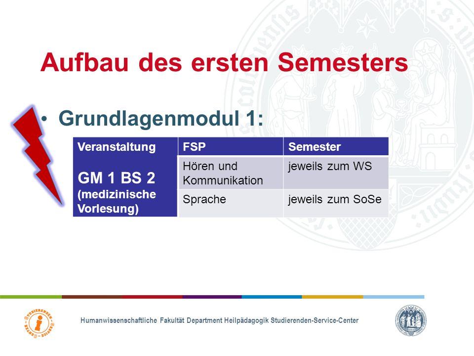 Grundlagen der Heilpädagogik und Medizin (GM1) GM 1.1 Medizinische Grundlagen 2. FS GM 1.2 Allgemeine Heilpädagogik GM 1.3 Orientierungspraktikum Begl