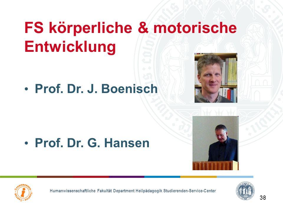 Humanwissenschaftliche Fakultät Department Heilpädagogik Studierenden-Service-Center 37 FS geistige Entwicklung Prof. Dr. B. Fornefeld Prof. Dr. K. Zi