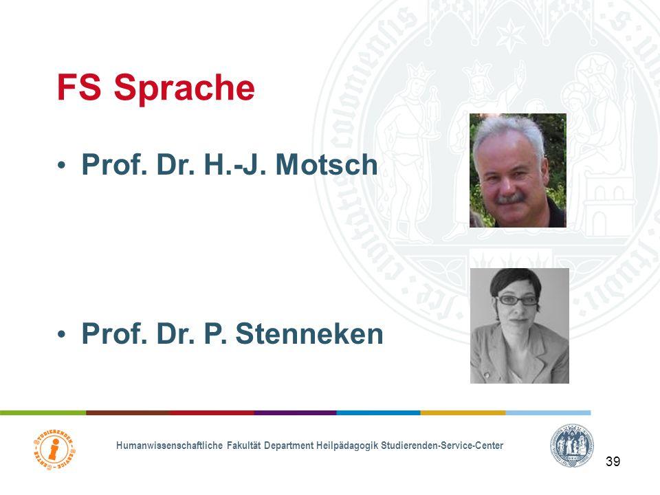 Humanwissenschaftliche Fakultät Department Heilpädagogik Studierenden-Service-Center 38 FS körperliche & motorische Entwicklung Prof. Dr. J. Boenisch