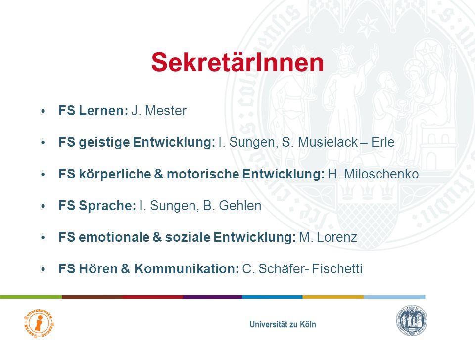 Humanwissenschaftliche Fakultät Department Heilpädagogik Studierenden-Service-Center 40 FS Hören & Kommunikation N. N. Prof. Dr. T. Kaul