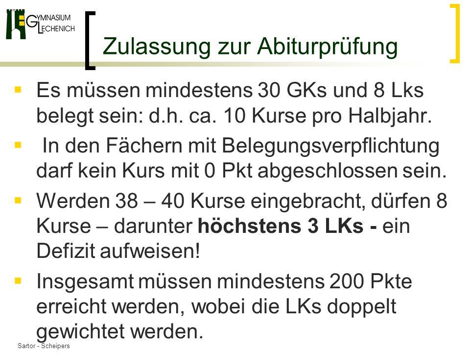 Zulassung zur Abiturprüfung Es müssen mindestens 30 GKs und 8 Lks belegt sein: d.h.